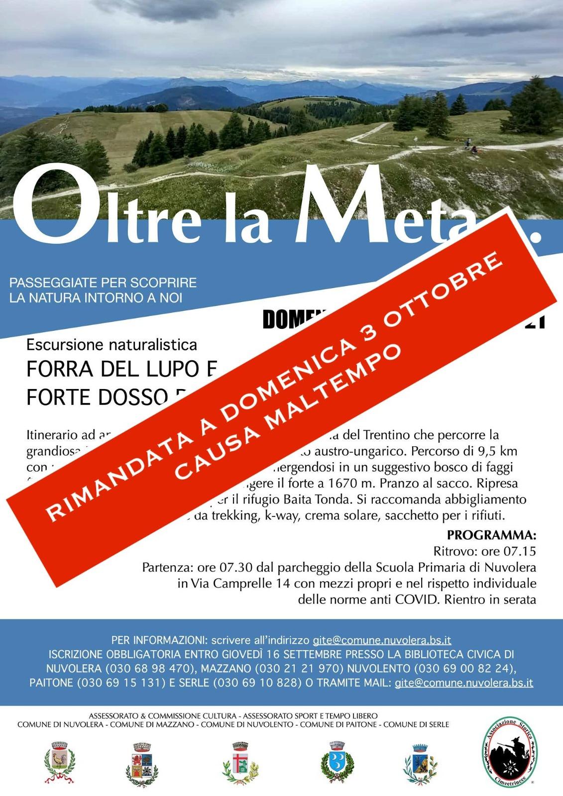 RIMANDATO - Quinto appuntamento con le escursioni: OLTRE LA META...